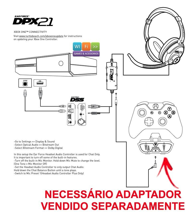 Fone headset ear force dpx21 71 ps4 ps3 xbox one xbox 360 r 399 carregando zoom ccuart Choice Image
