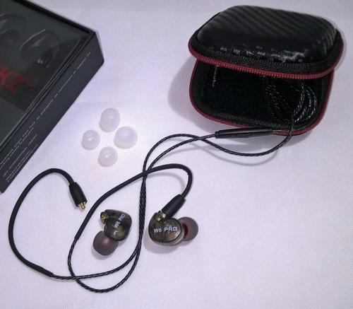 fone in-ear qkz w6 pro - retorno/monitor de palco + case