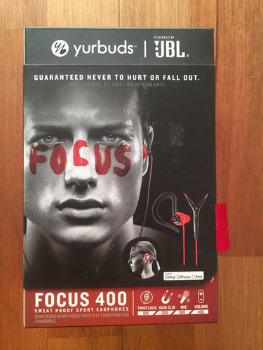 fone jbl yurbuds focus 400 preto e vermelho