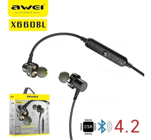 fone ouvido awei x660bl bluetooth 4.1 smart magnético graves