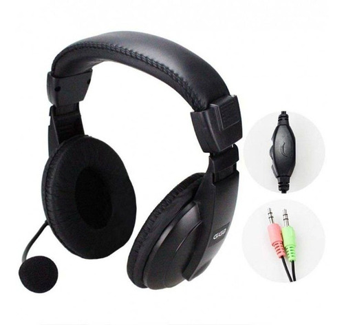 fone ouvido headset c/ microfone gamer pc + adaptador p2 ps4