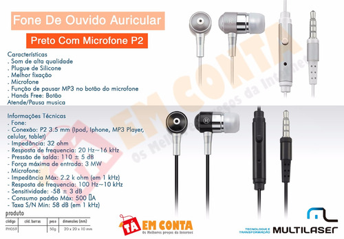 fone ouvido multilaser celular pc mp3 plugue silicone branco