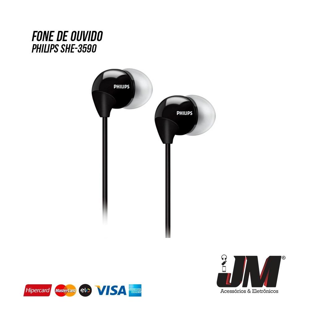 Fone De Ouvido Philips Intra Auricular She 3590bk R 2999 Em Earphone 3590 Mercado Livre