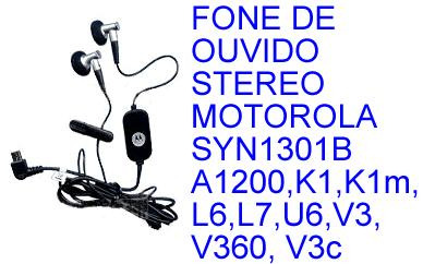 fone ouvido stereo motorola k1m