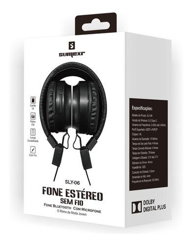 fone sem fio sly06 favix sumexr hi-fi bass sd card headset