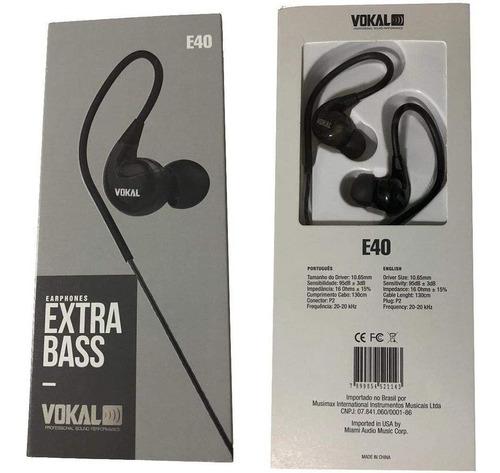 fone vokal in ear e-40 preto