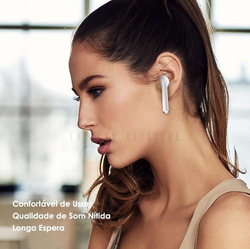 fones de ouvido airpods par i7s tw bluetooth sem fio branco