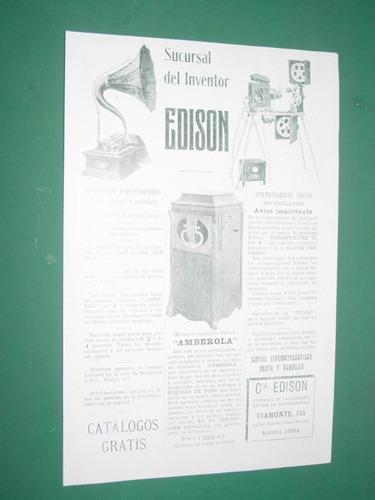 fonografos amberola edison cine clipping publicidad 1910
