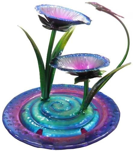 fonte agua cascata chafariz metal borboleta flores 110v
