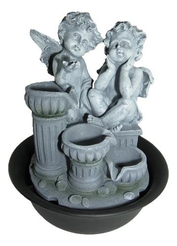 fonte água decorativa cascata anjos coluna romana led 127v