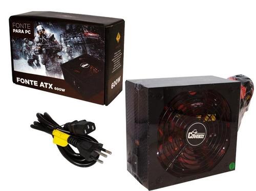 fonte atx 600w real gamer silenciosa pc bivolt leds internos