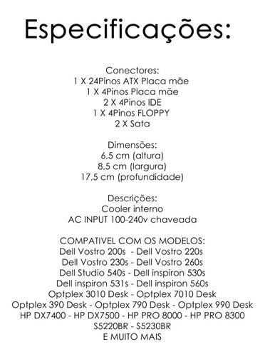 fonte atx compaq hp slimline s5220br s5230br dx7400 sff  con