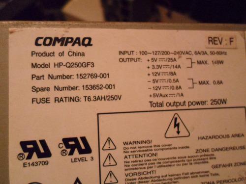 fonte atx compaq modelo hp-q250gf3 20 pinos
