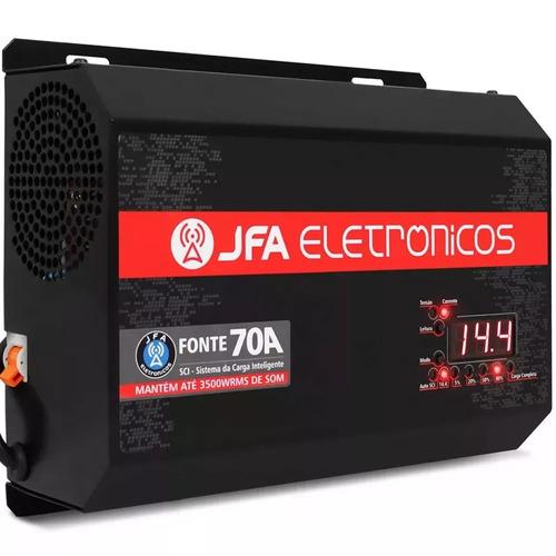 fonte automotiva digital jfa turbo 70a bivolt carregador som