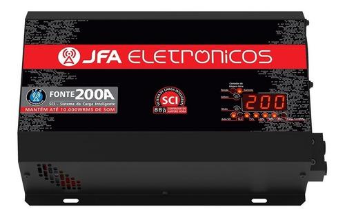 fonte automotiva jfa 200a slim bivolt voltímetro digital som