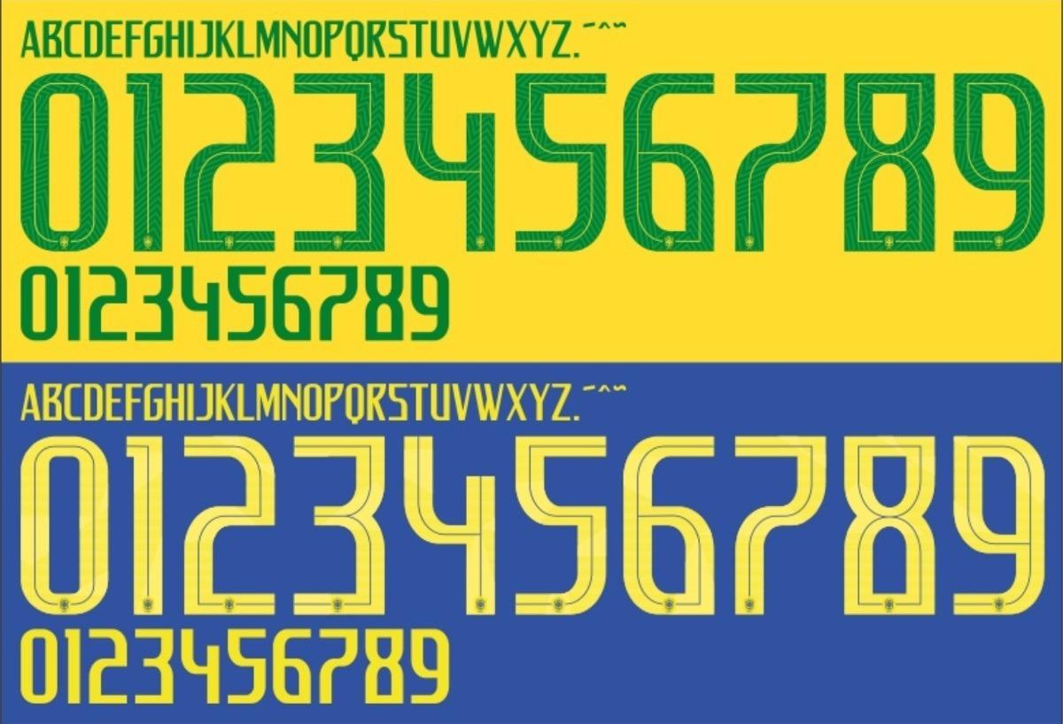 6739d7047 Fonte Camisa Seleção Brasileira 2018 Letras E Números Brasil - R  10 ...