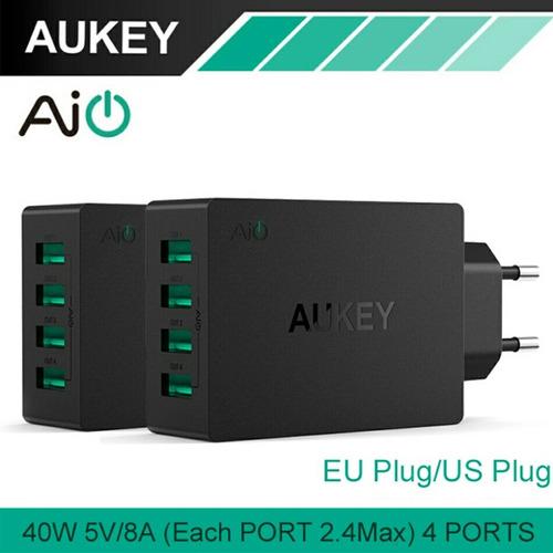 fonte carregador hub usb 4 portas 40 w 8 a aukey de viagem