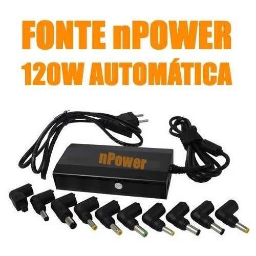 fonte carregador universal notebook npower 120w auto oferta