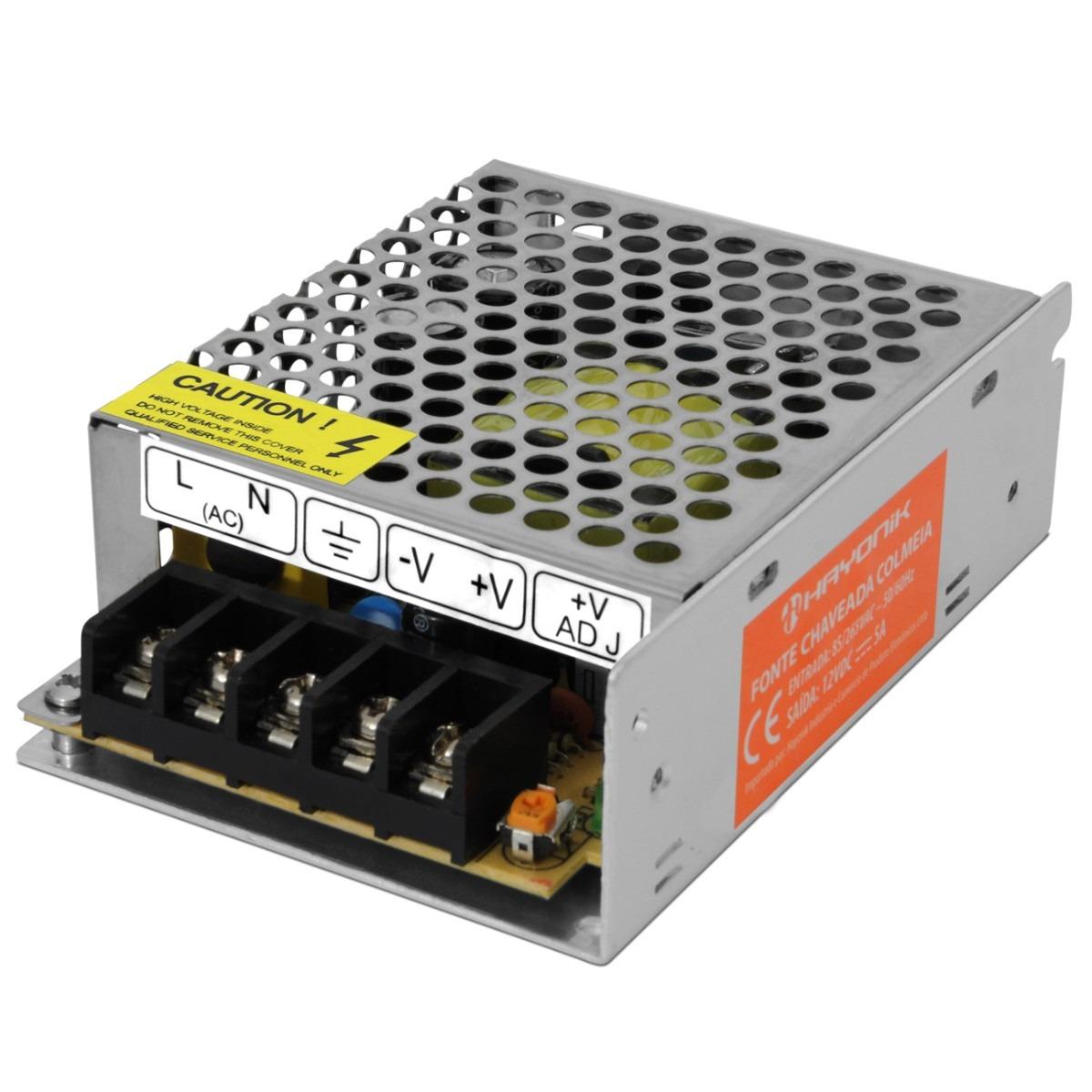 Fonte chaveada bivolt 110v 220v p 12v transformador 60w for Transformadores de corriente 220v a 12v