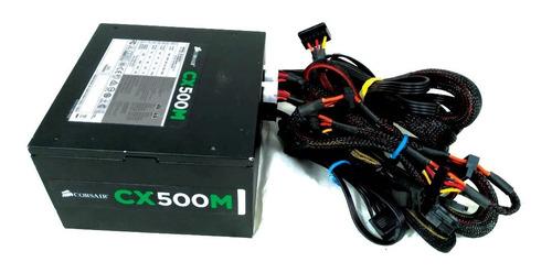 fonte corsair cx500m 500w real semi modular 80 plus