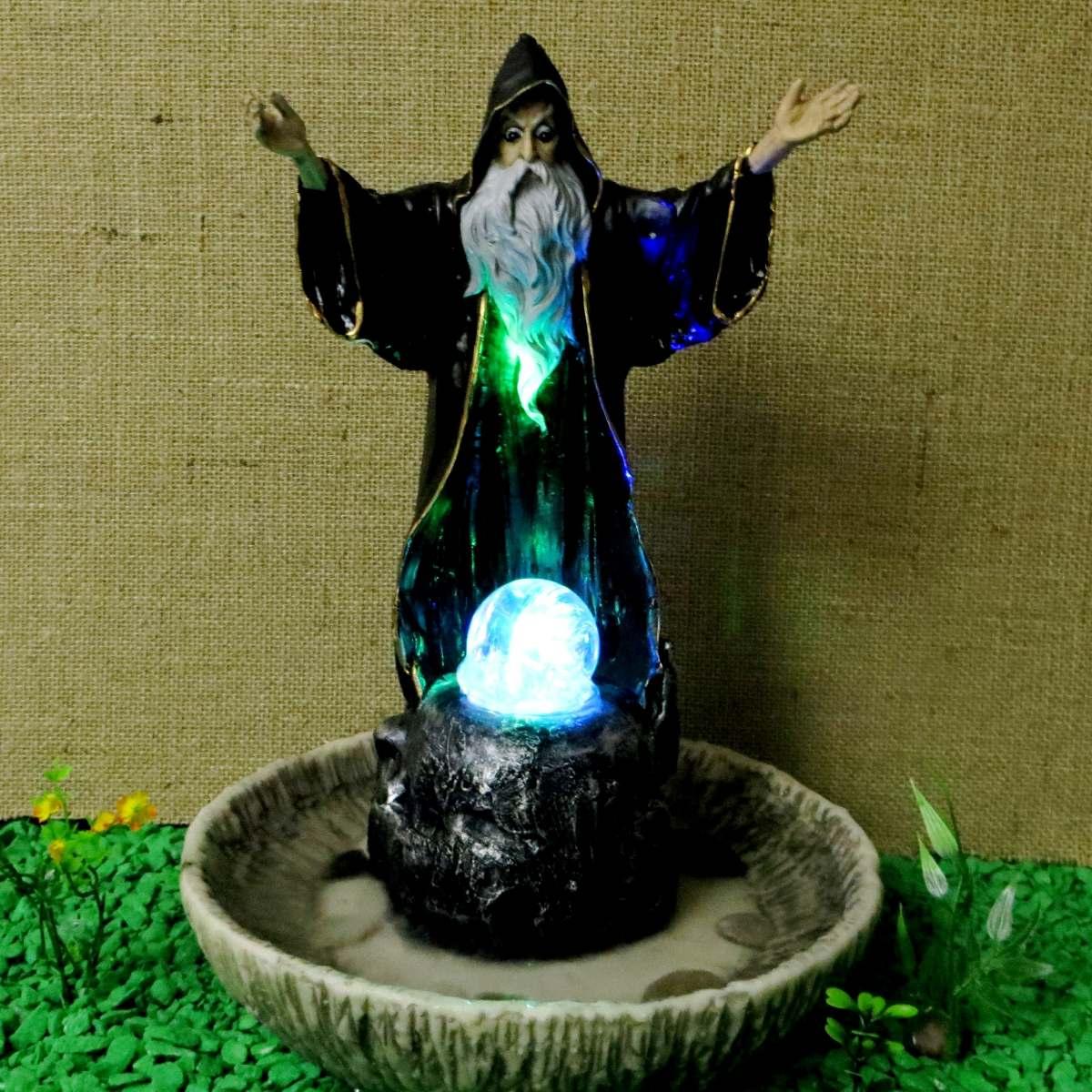 Fonte de gua mago merlin com luz bola girat ria bruxo - Resina de poliester leroy merlin ...