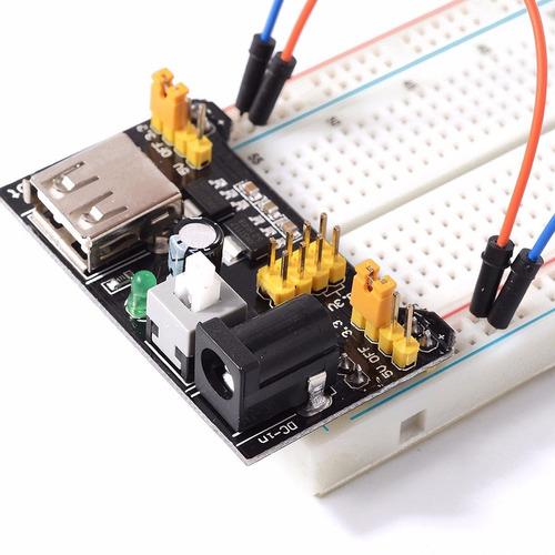fonte de alimentação 3.3v 5v mb102 protoboard arduino pic