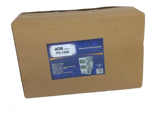 fonte de alimentação digítal ajustavel 15v 3a icel ps-1500
