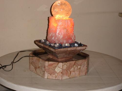 fonte de cristal, quartzo rosa e pedra sabão