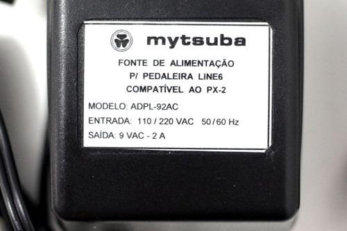 fonte p/ pedaleira line 6 9vac 2a mytsuba compatível a px-2
