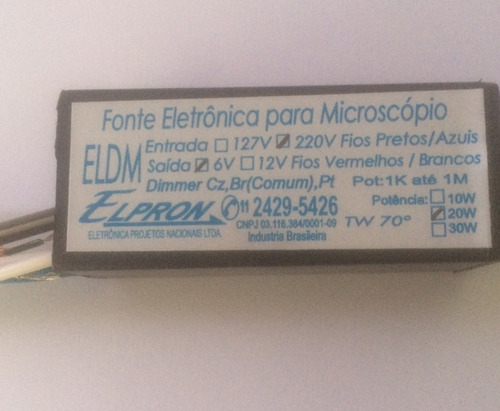 fonte para microscopio - eldm - 6v/20w/220v
