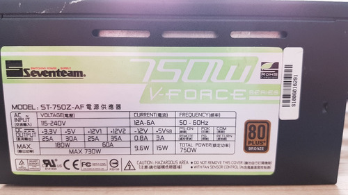 fonte seventeam  gamer modular 750w reais st-750z-af 80plus