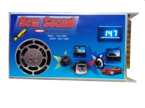 fonte som automotivo carregador bateria 12v 30a c voltimetro
