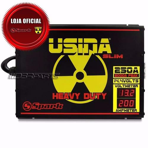 fonte spark usina 250a slim 14,4v c/ voltimetro frete grátis