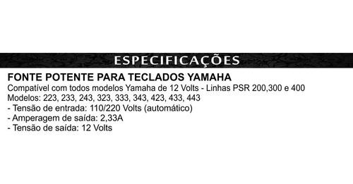 fonte teclado yamaha 12 volts bivolt compatível com varios