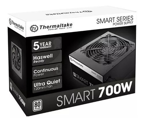 fonte thermaltake 700w reais 80plus white pfc ativo game+nf