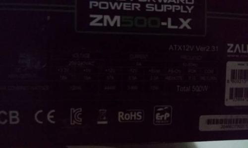 fonte zalman zm-500 lx - 500w- pfc ativo - funciona em 220v