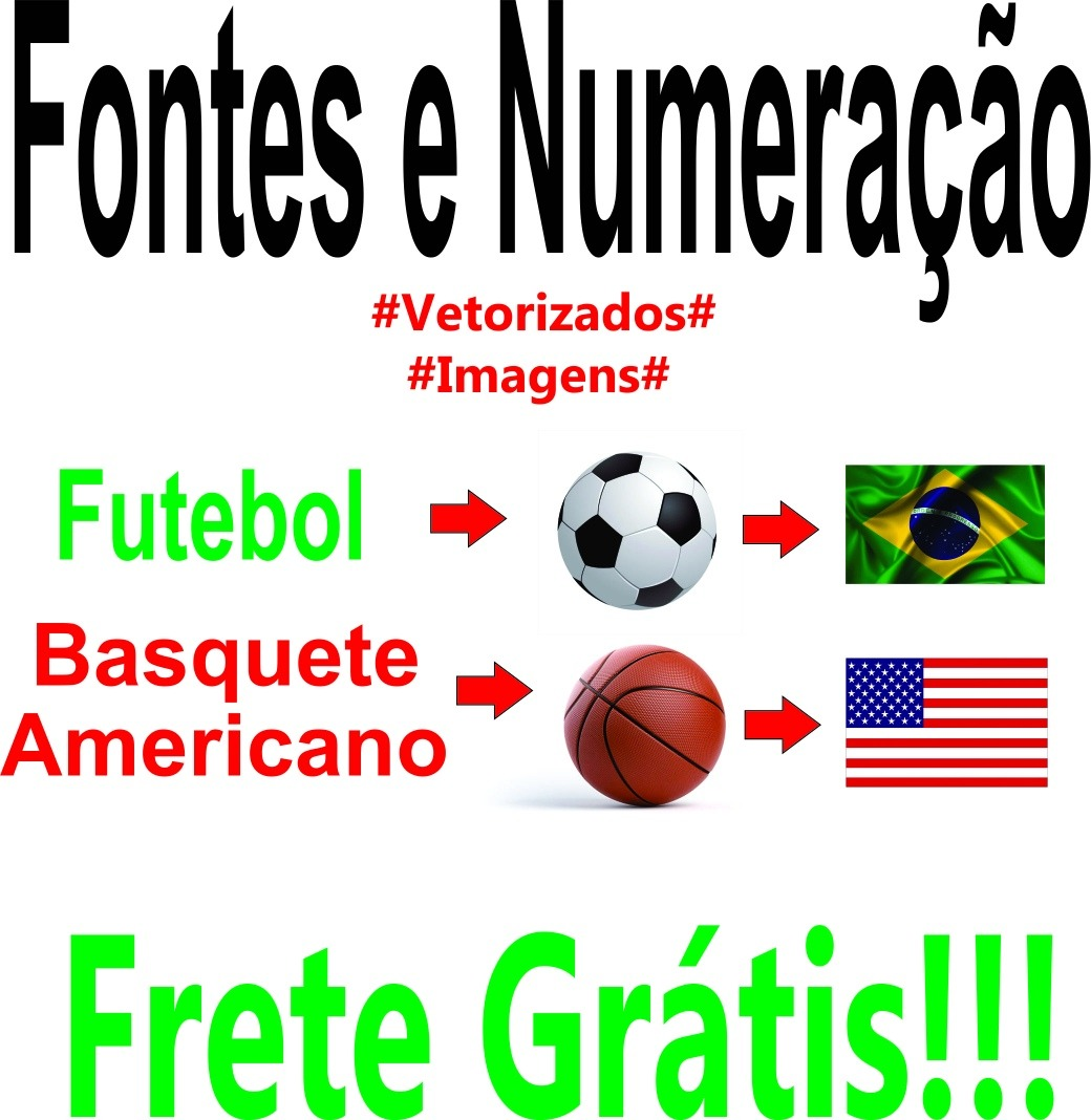 d54cb3ace Fontes E Numeração D Times Futebol E Basquete Americano - R$ 12,00 ...