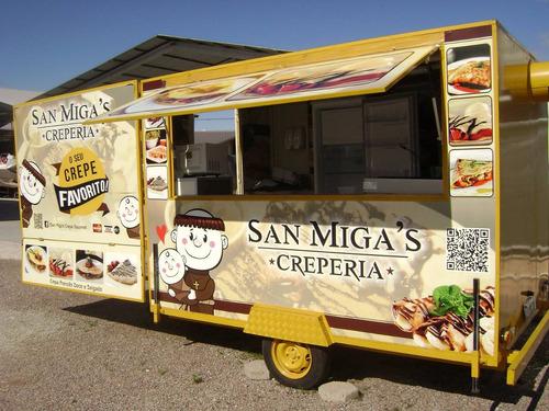 food truck reboque 3 x 2 equipado e adesivado