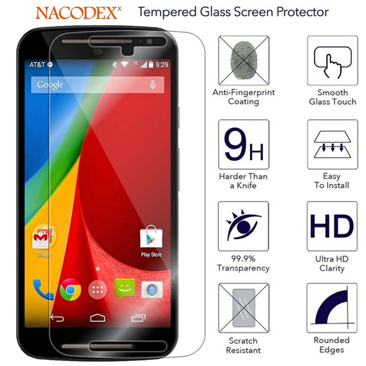 129df2b7c63 For Motorola Moto G (2nd Gen) Glass Screen Protector, Nacode - $ 618,60 en  Mercado Libre
