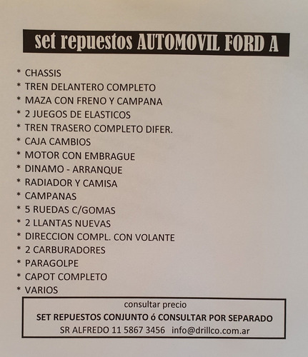 ford a 1930 + pack repuestos