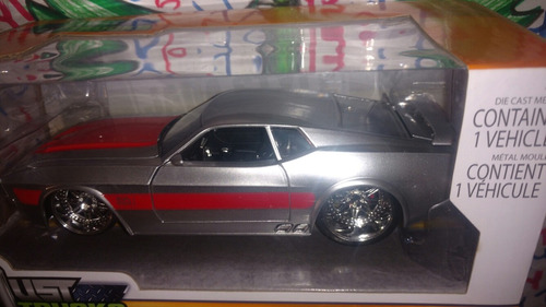 ford mustang mach one 1971 plata rojo 1/24 metal lyly toys