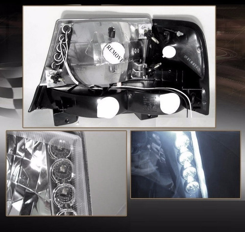 ford ranger 1998 - 2000 juego de faros con leds negros