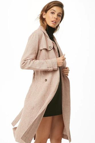 forever 21 abrigo ligero gabardina rosa blanco pata gallo xl