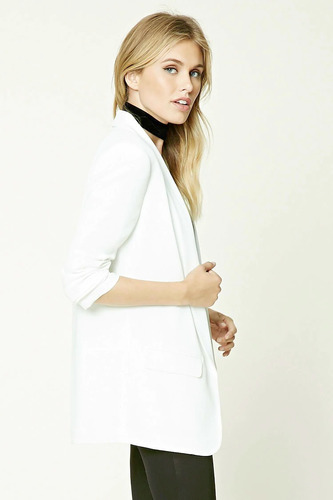 forever 21 blazer saco abierto largo blanco con solapa med