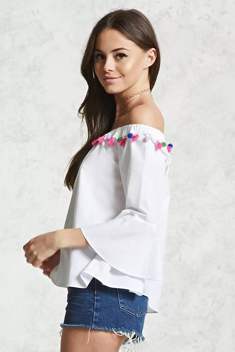 forever 21 blusa blanca adorno pompones hombros abiertos s