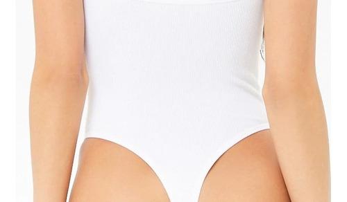 forever 21 bodysuit pantiblusa tirantes rayada blanco tanga