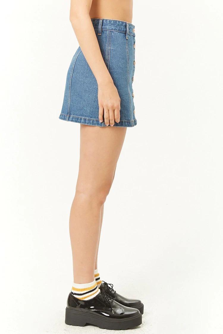 forever 21 falda corta de mezclilla azul oscuro botones 30. Cargando zoom. c6ff48a635e5