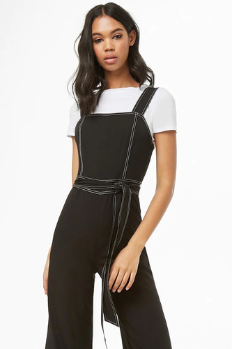forever 21 jumpsuit overol pierna ancha negro stretch med