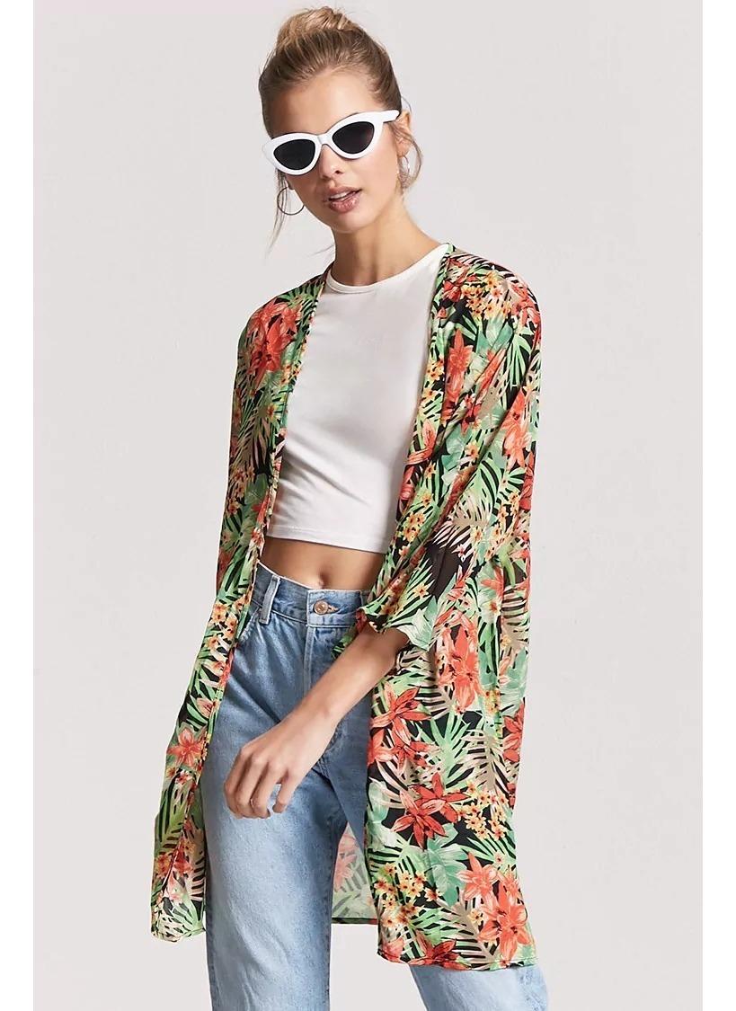 grandes ofertas en moda buscar 60% de liquidación Forever 21 Kimono Floreado