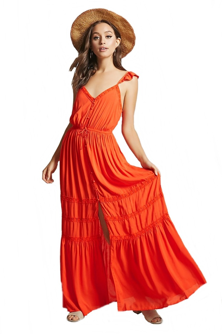 a764803eca forever 21 maxi vestido largo crochet encaje olanes rojo med. Cargando zoom.